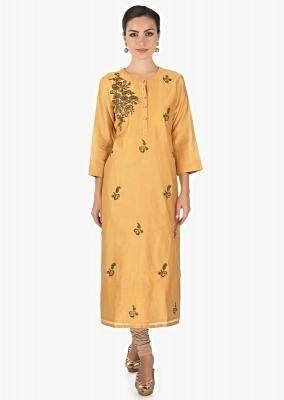 Mustard cotton kurti with  zardosi butti only on kalki