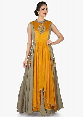 Mustard tunic adorn in gotta patch work only on Kalki