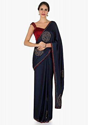 Navy blue and red saree in satin with unstitched blouse crafted in kundan embroidery work only on Kalki