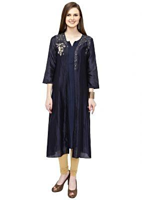 Navy Blue Cotton Silk Kurta with Zardosi Work only on Kalki