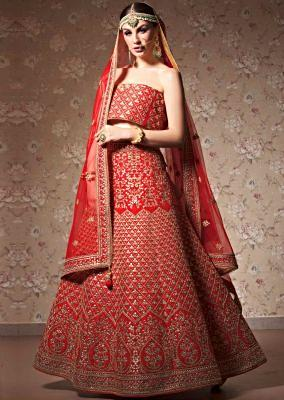 Ox red lehenga with unstitched blouse in gotta patch and zari embroidery