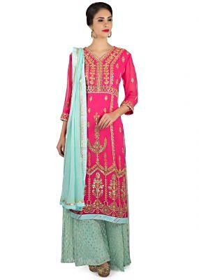 Rani pink straight palazzo suit in gotta lace and patch embroidery only on Kalki