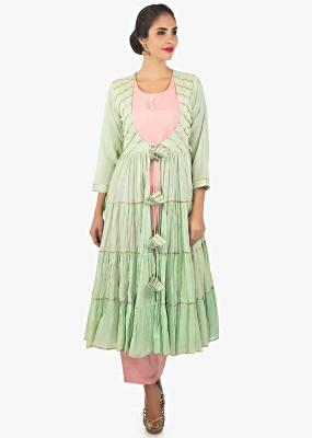 Rose pink cotton kurti and pant paired with a Pistachio green jacket only on kalki