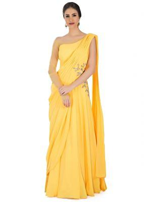 Yellow and Net Georgette Gown Featuring Pre-Stitched Pleats, Zardosi and Gotta Lace Work only on Kalki