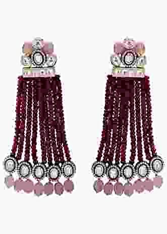 Classic Kundan Earring With Maroon Agate Bead Strings And Rose Quartz Online - Joules By Radhika