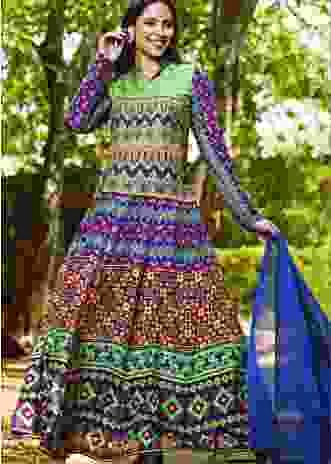 Multi Colored Anarkali Suit In Cotton Silk With Patola Print Online - Kalki Fashion