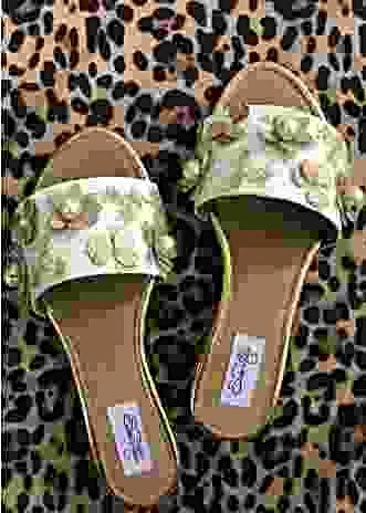White Slider Flats With Gold Glitter Flowers And Pearl Accents Online By Sole House