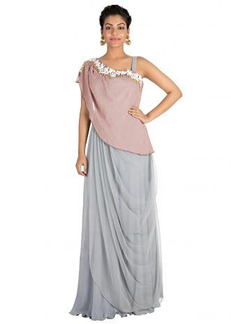 Hand embroidered Light grey draped dress with light onion pink cape