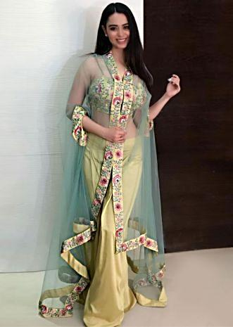 Soundarya Sharma in kalki moss green palazzo set in resham embroidery matched with fancy jacket
