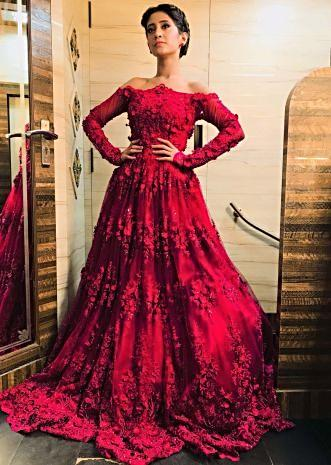 Shivangi Joshi in Kalki maroon off shoulder gown with embroidery