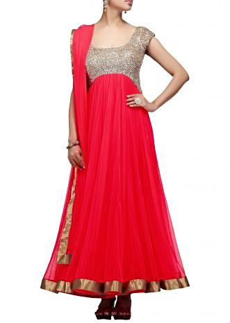Tomato Red suit with sequenced yoke