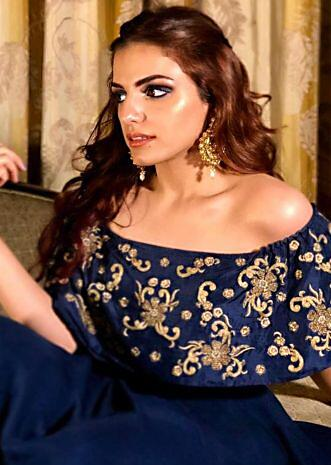 Sukriti Kakar in Navy blue lehenga matched with off shoulder embroidered cape only on Kalki