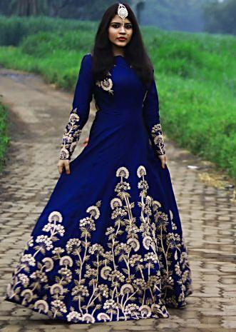 Navy blue gown adorn in zari and sequin in floral embroidery only on Kalki