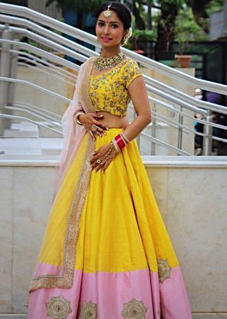 Amber yellow lehenga in zardosi and moti embroidery only on Kalki