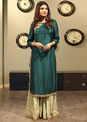 Green straight suit matched with palazzo pant only on Kalki