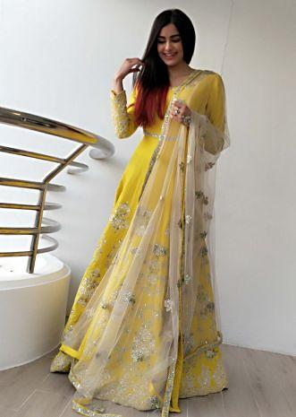 Adah Sharma in Kalki Yellow Silk Gown and Net Dupatta in Gotta Lace Work