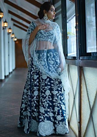 Mid night blue lehenga with silver rose motif embroidery only on Kalki