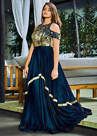 Teal green double layer velvet gown embellished in tassel lace only on Kalki