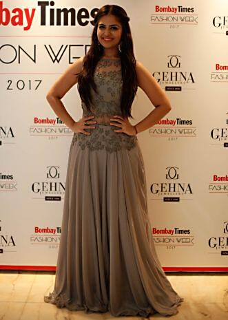 Grey shimmer gown with moti and resham embroidered bodice only on Kalki
