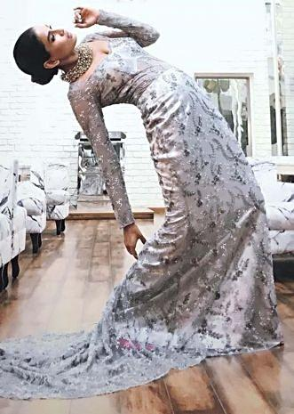 Grey gown in net encrusted with zari and cut dana embroidery work only on Kalki
