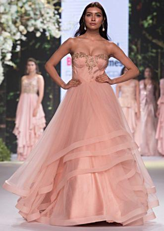 Pink strapless corset gown with multiple layer in cut dana embroidery only on Kalki