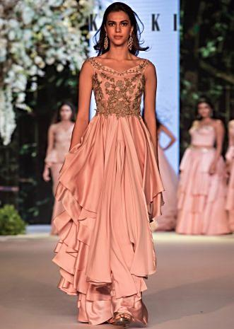 English peach layered gown with french knot embroidered bodice only on Kalki