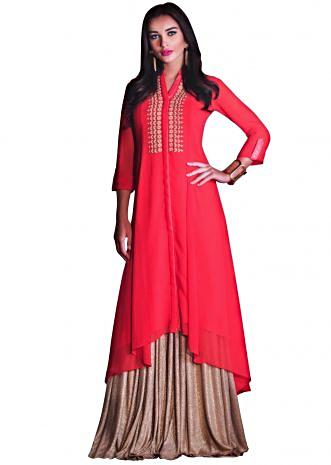 Coral peach fancy kurti in thread embroidered placket