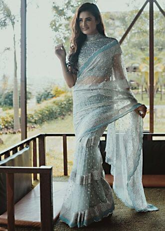 Yuvika Chaudhary in Kalki silver grey net saree.
