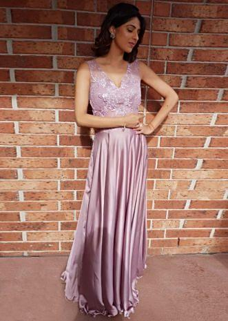 Lavender satin gown with sheer net yoke at the waist