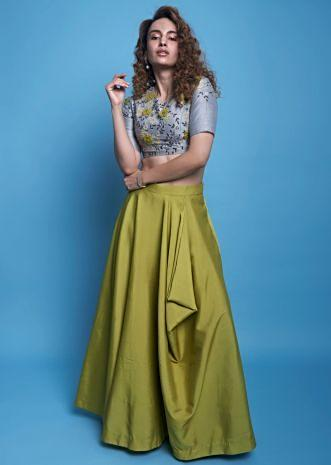 9cedc0525812 Lime green cowl draped skirt with grey raw silk embroidered crop top only  on Kalki ...