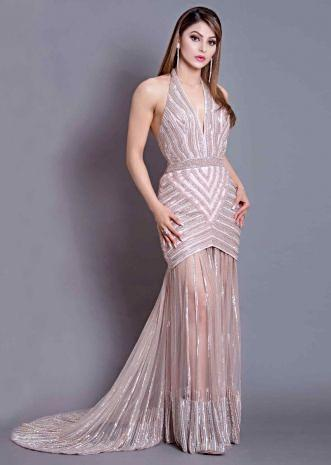 504fdf9628 Urvashi Rautela in Kalki Mauve pink oyster shell gown with halter neck long  net trail.