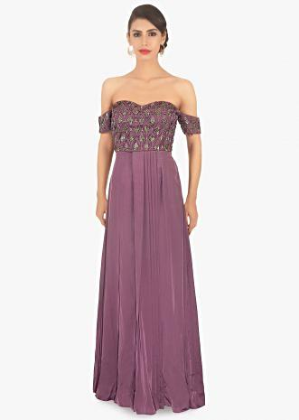 A line satin gown with smocking bodice adorn in cut dana