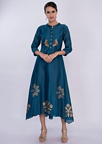 Admiral blue cotton kurti with butti  only on Kalki