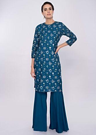Admiral blue cotton sharara suit in floral resham embroidery only on Kalki