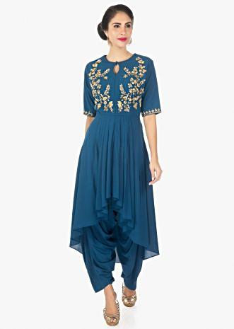 Admiral blue front short back long kurti with a fancy dhoti pant