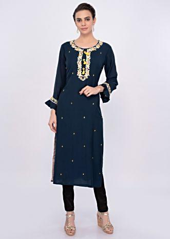 Admiral blue kurti with sequins and moti embroidery only on Kalki