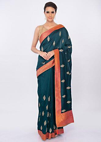 Admiral blue silk saree with embroidered butti only on kalki
