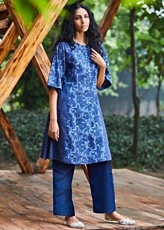 Aegean blue floral printed cotton suit with matching cotton palazzo pant in printed butti
