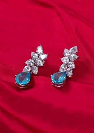 American stone drop earring with sky blue zircon crystal  only on kalki
