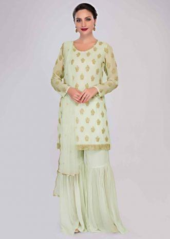 3f0ef48b940b Apple green sharara suit set with embroidered butti only on Kalki ...