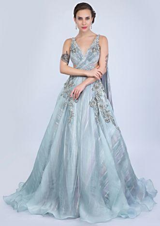 11c7045f276 Aqua blue organza gown with over lapping ruching bodice only on Kalki ...