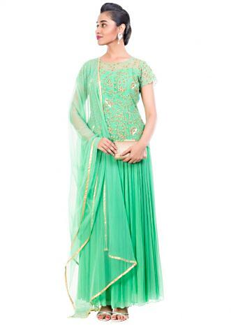 Aquamarine Gown Set With Embroidered Yoke