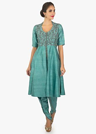 Arctic blue kurti with over lapping pants only on Kalki