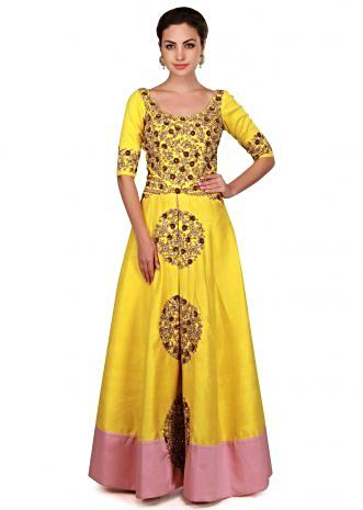 Aspen yellow anarkali suit with front slit embroidered only on Kalki