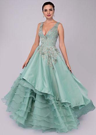 Aviary blue 3D floral gown with asymmetric organza layered hemline