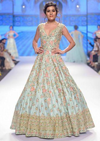 Aviary blue anarkali dress floral , moroccan and geometric embroidery