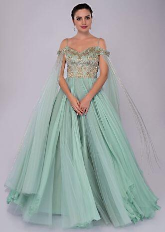 Aviary blue of shoulder gown with flared sleeves