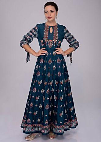 Azure blue cotton tunic dress in self print with resham and abla embroidery