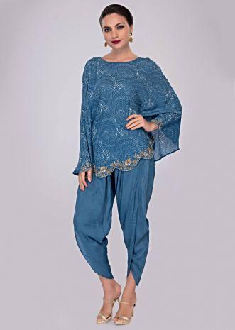 Azure blue dhoti pant paired with cape top in print and scallop border