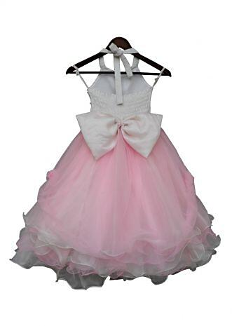 Baby Pink and White Organza Gown By Fayon Kids
